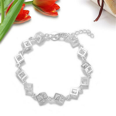 Hot Square Fashion Designs Jewelry Solid 925 Silver & Zircon Bracelet / Bangle