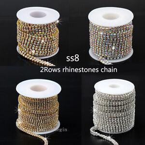 2-row clear AB crystal rhinestone trims close cup chain silver gold ... d06f4765ae0e