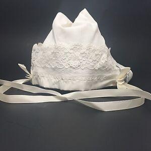 99083111b Details about Vintage Infant Christening Bonnet Hat Lace Trim, Ribbon Ties,  Pleats, Nasharr
