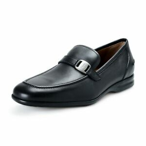 Salvatore-Ferragamo-034-Tangeri-2-034-Men-039-s-Black-Leather-Slip-On-Loafers-Shoes