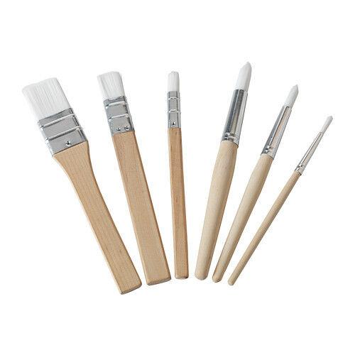 Set of 6 IKEA MÅLA Mala Wooden Paint Brushes For Kids,multipurpose UK-B786