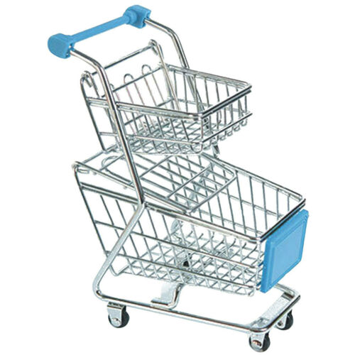 Metal Double-deck Supermarket Cart Basket Supplies for Kids Toddler Sky Blue