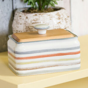 Striped-Country-Kitchen-Ceramic-Butter-Serving-Storage-Dish-with-Wooden-Lid