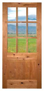 Knotty alder wood 9 lite entry door cottage front door ebay for 9 lite wood exterior door