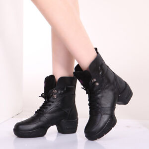 004dfde557b Details about Womens Leather Athletic Boots Comfy Modern Jazz Hip Hop Dance  Shoes Winter