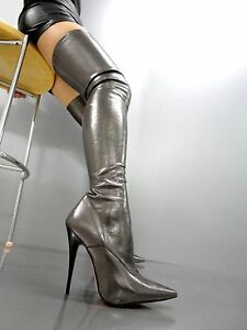 MORI OVERKNEE HIGH HOT HEELS ITALY STIEFEL BOOTS STRETCH LEATHER GREY GRIGIO 45