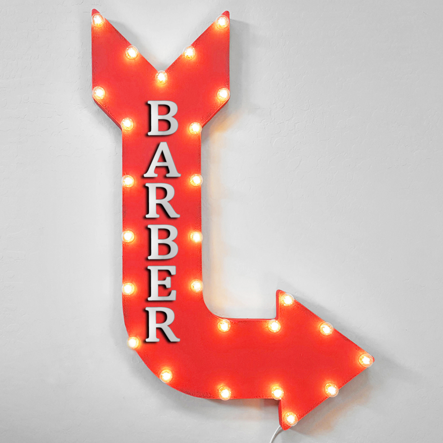 36  BARBER Curved Arrow Sign Light Up Metal Marquee Vintage Cafe Hair Salon Cut