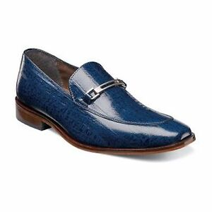 b7e138fce06f Mens Stacy Adams Shoes Santiago Blue Eel Skin Print Leather Loafer ...