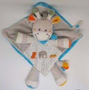 DOUDOU-TEX-BABY-GIRAFE-PLAT-GRIS-BLEU-JAUNE-ELEPHANT-carrefour-bandana-NEUF
