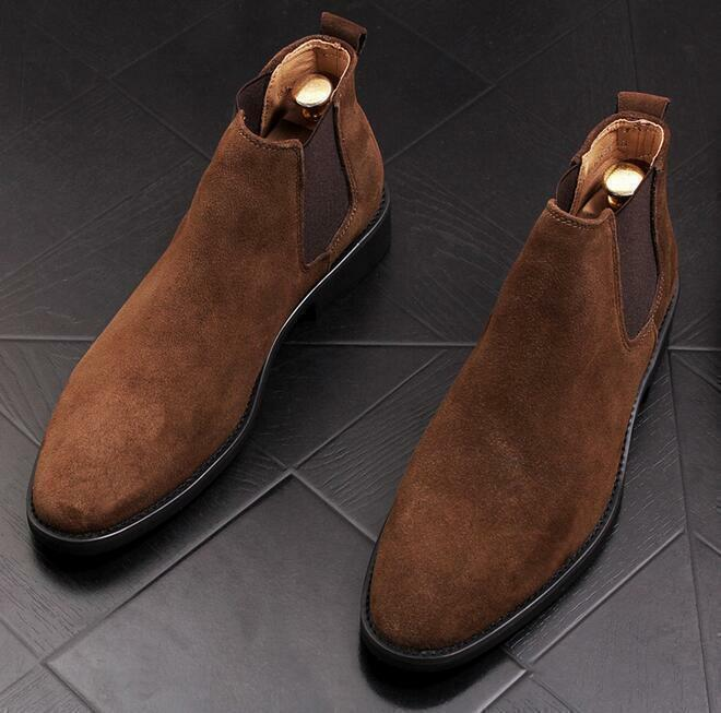 Men Suede Chelsea Ankle Boots Flat Pointy Toe Pull On Leisure High Top shoes A13