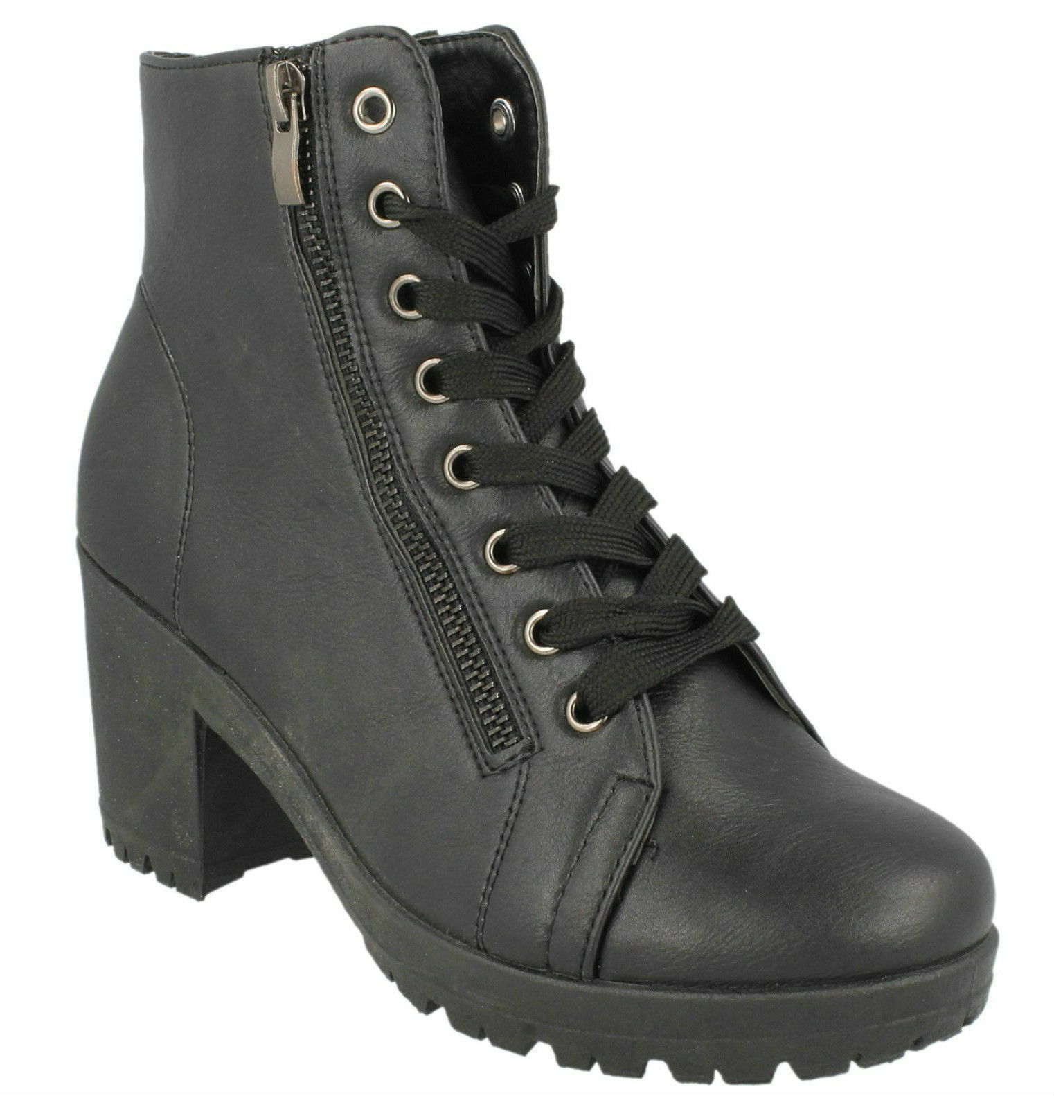 Spot On Ladies Ankle Boots F50313 Black Pu Size UK 3 to 8  (R6A)