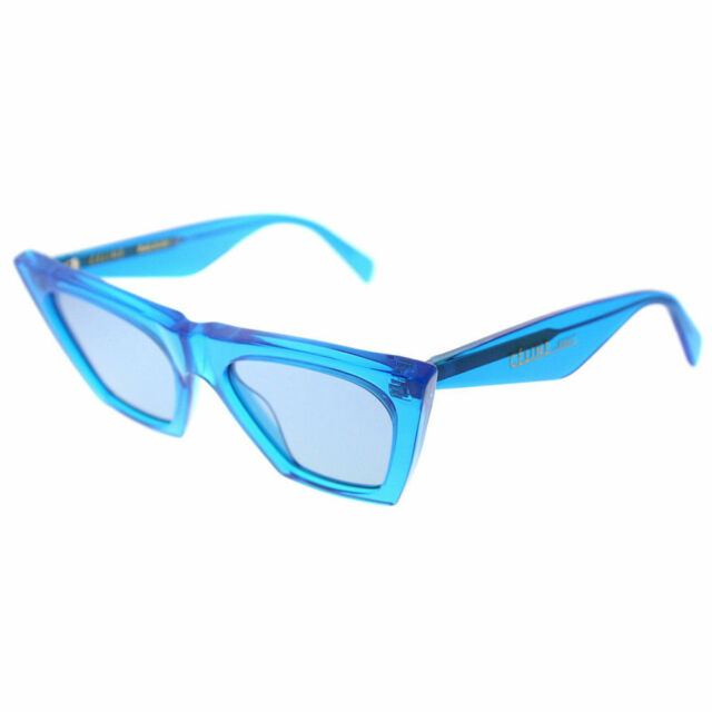 e83eaeb42d Celine Edge CL 41468 GEG Transparent Blue Plastic Cat Eye Sunglasses Blue  Lens
