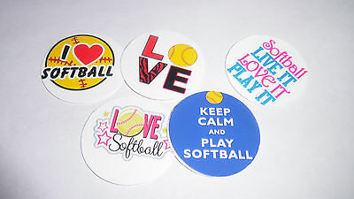 Pre Cut One Inch Bottle Cap Images I Love Softball Free Ship