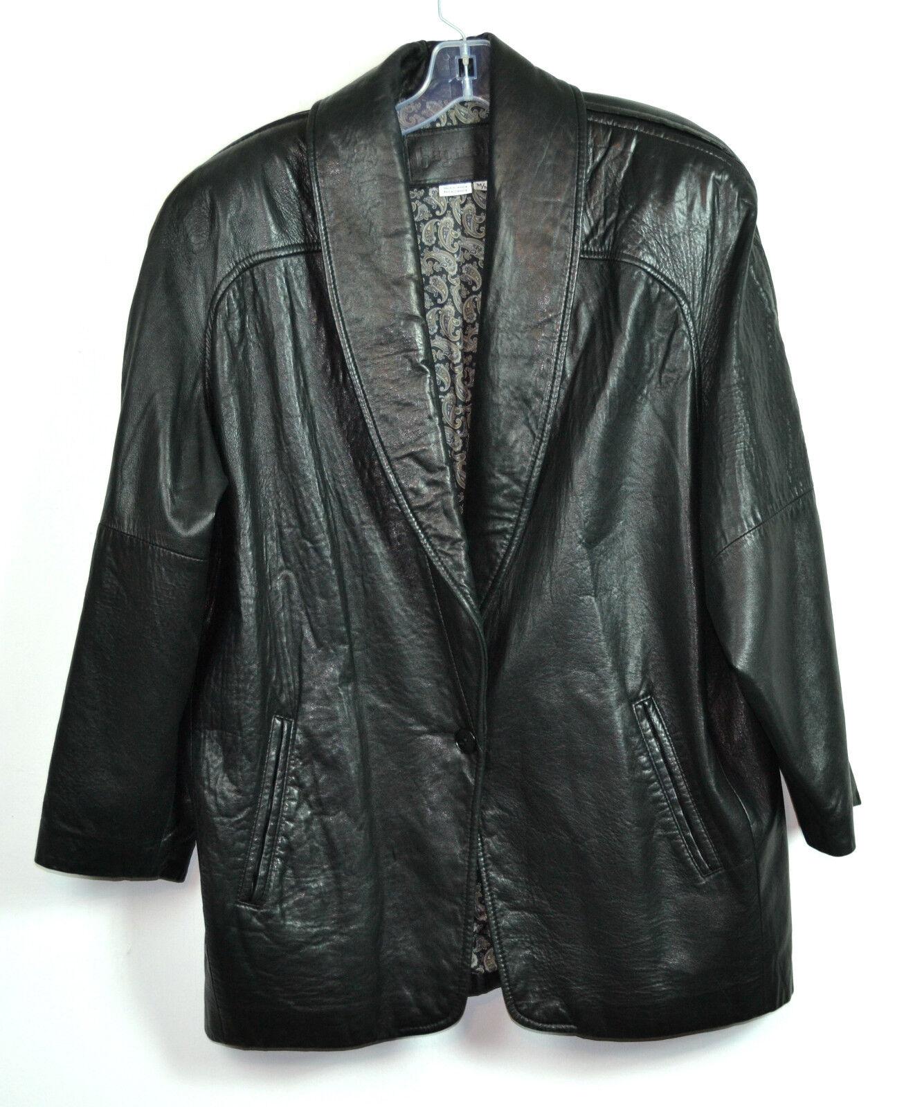 VINTAGE BAGATELLE Black 100 % Genuine LAMB SOFT Leather Jacket SIZE M CANADA
