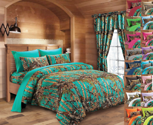 22 PC KING! TEAL CAMO BEDDING COMFORTER SHEET CAMOUFLAGE 3 CURTAIN SETS
