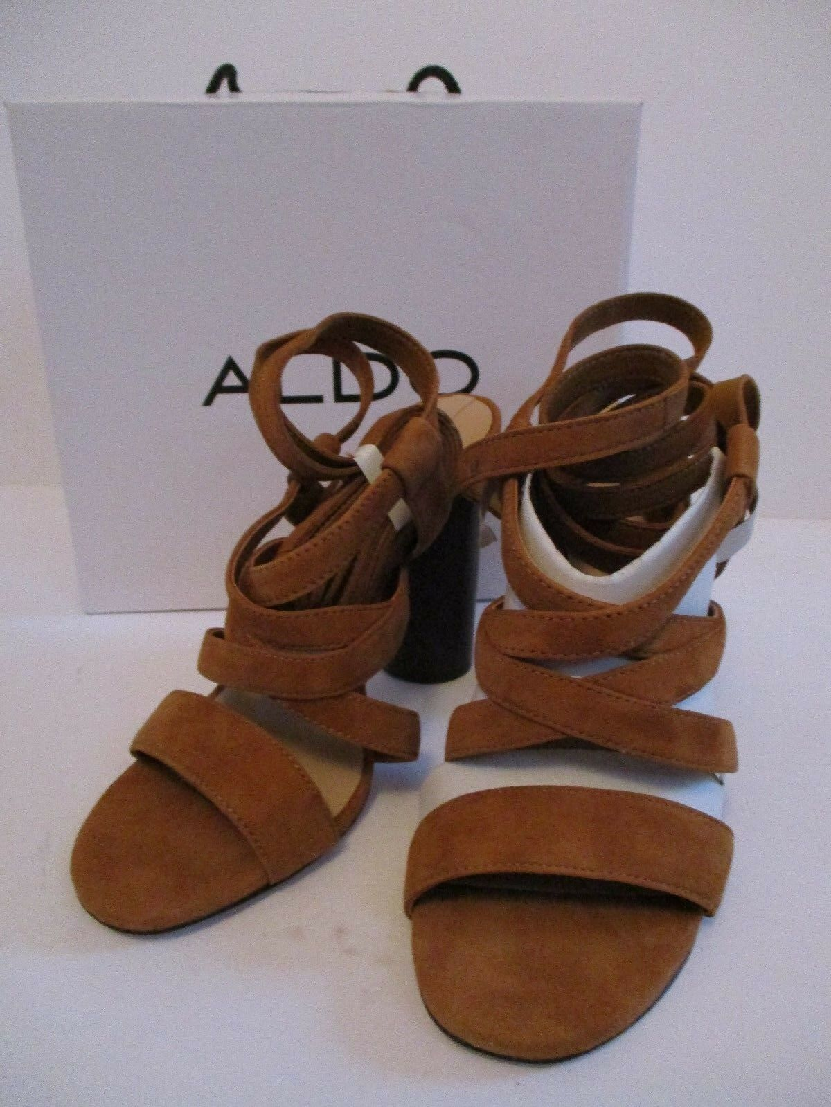 ALDO EXERILA Braun Strappy Block Heeled Open Toe Schuhes Größe 4.5 NEW IN BOX
