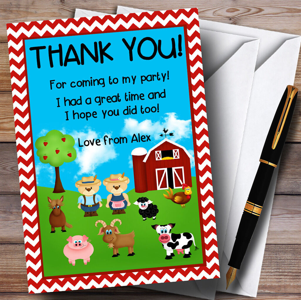 Red Chevrons Chevrons Red Farm Animals Party Thank You Cards 36c6ba