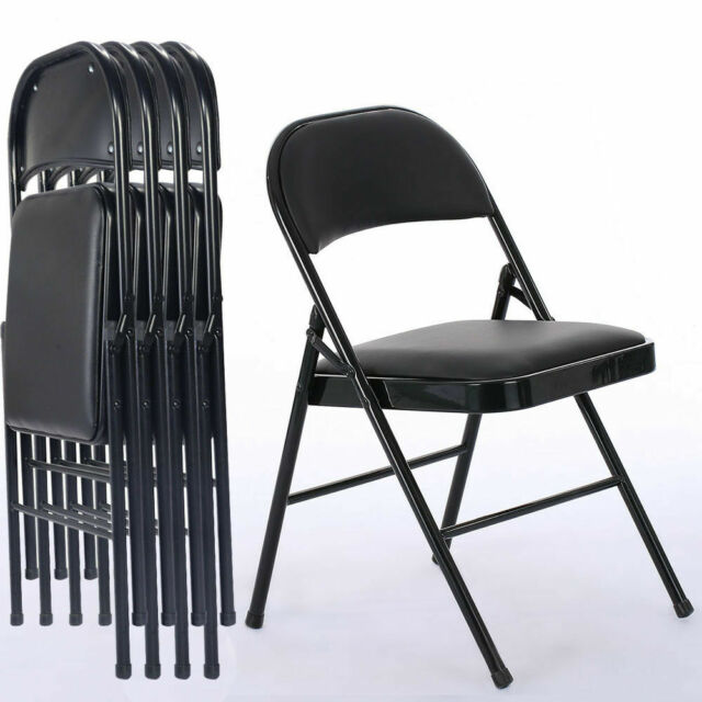 Astounding 4Pcs Black Folding Chairs Fabric Upholstered Padded Seat Metal Frame Home Office Creativecarmelina Interior Chair Design Creativecarmelinacom