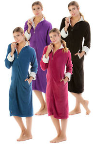 2802fdce0a Casual Nights Women s Zip Front Warm Plush Fleece Lounge Duster ...