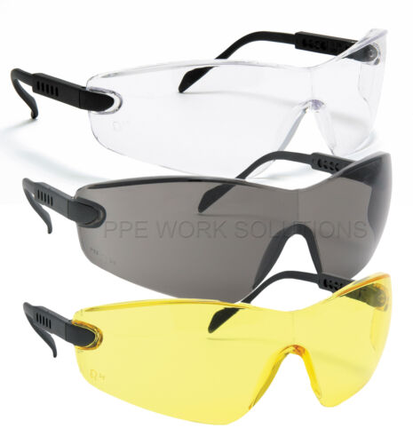2 Pairs One Piece Curved Arm Adjust Safety Sports Work Glasses Specs Spectacles
