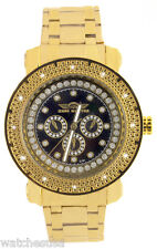 King Master Men's Silver and Black Dial Gold Tone Bracelet Diamond Watch