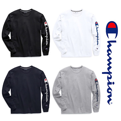 64a8e73b3202 Details about New Authentic Champion Men Jersey Sleeve Script Logo Long  Sleeves T-Shirt GT78H