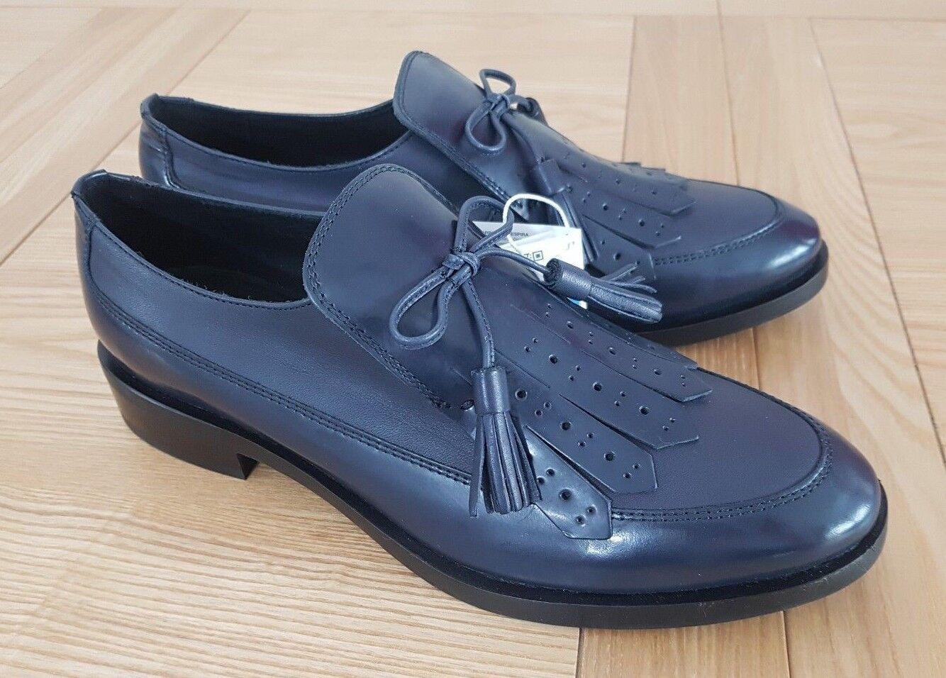 Geox Respira Brogue F Navy Leder / Grau Leder Navy Casual Damenschuhe Tassel Brogue Loafers 80b133
