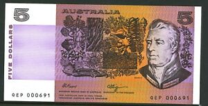 Australia-Low-Serial-1990-5-QEK-000601-Fraser-Higgins-Paper-Banknote-issue-r212