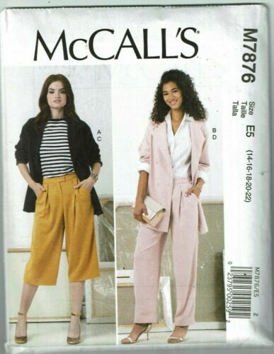 McCalls #7876 Plus Sz Jacket and Pants with variations Pattern Sz 14-22 UC