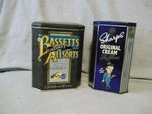 2-vintage-Candy-Tins-Sharp-039-s-Original-Cream-Toffees-amp-Basset-039-s-Allsorts-empty