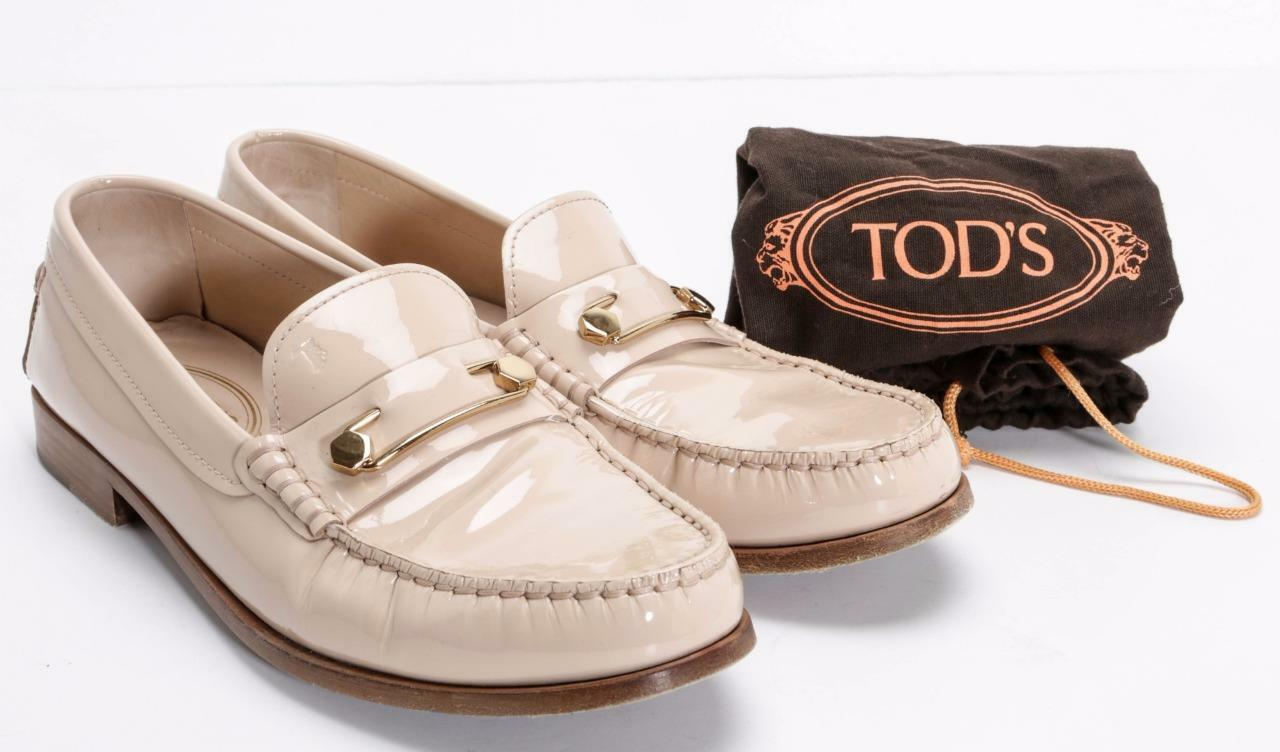 TOD'S Blush rosa Patent Leather Loafer Moccasin Slip-On Driving scarpe 9.5-39.5