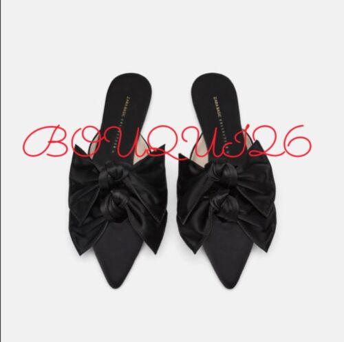 6842 Black Flats Mule 37 dubbele us met Ref boog Sz 301 Zara Satin 6 q57twURt1