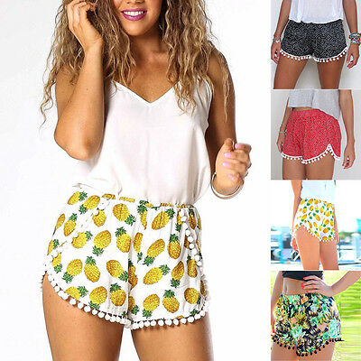 Summer Sexy Women's Print Tassel High Waist Shorts Short Beach Slim Mini Pants