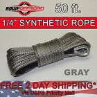 """1/4"""" x 50' GRAY Synthetic Winch Line Cable Rope 7000+ LBs with Sheath (ATV UTV)"""