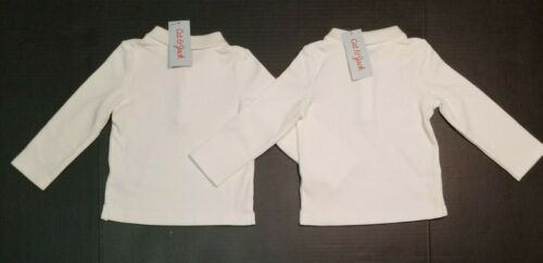 Cat /& Jack Toddler Girls/' White Long Sleeve Polo Shirt *2 PACK* 18M 3T 4T NWT