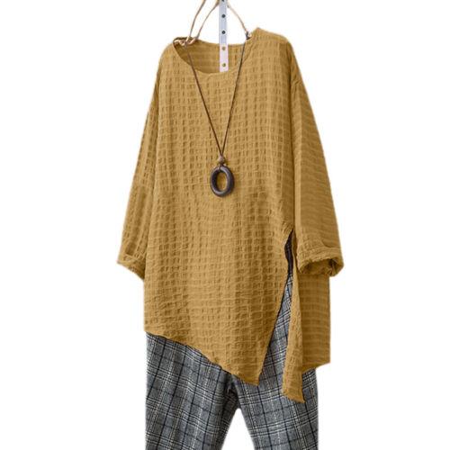 Womens Long Sleeve T-shirt Tops Blouse Cotton Linen Kaftan Plain Tee Shirt 8-22
