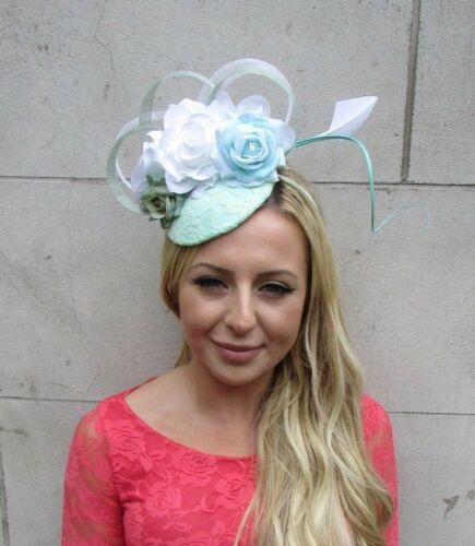 Mint Green White Rose Flower Feather Hat Hair Fascinator Races Wedding 6224