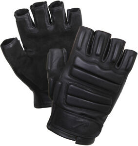 Image is loading Black-Tactical-Leather-Fingerless-Gloves-Suede-Palms-Foam- 8c29d49b9ed