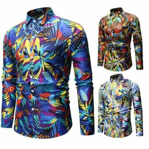Casual-long-sleeve-floral-formal-men-039-s-tops-t-shirt-luxury-slim-fit-dress-shirt