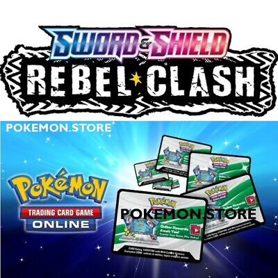 100x Rebel Clash Unused Pokemon Online Booster Codes In Hand Emailed