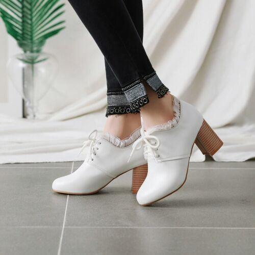 Womens Round Toe Lace Up Block Mid Heels College OL Pumps Casual Oxfords Shoes B