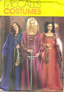 Details about MCCALLS PATTERN 3663 OOP MISSES MEDIEVAL DRESS GOWN COSTUMES  6-12 OR 14-20
