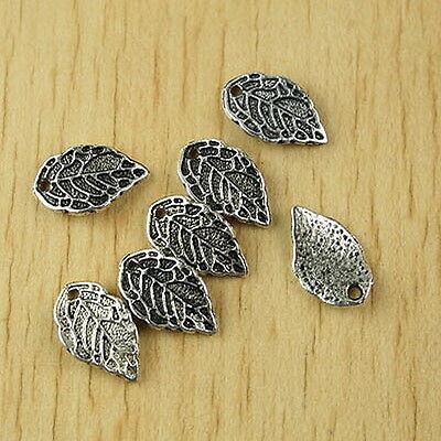 30pcs Tibetan silver leaf charms H2524