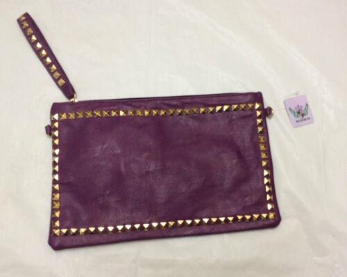 New Ladies Womens Studded Handbag Clutch Bag Purse Evening Party Shoulder Strap