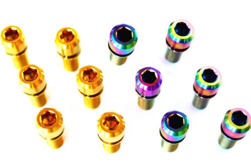 4pcs M7 x25mm TC4 Titanium Cylinder head Screws Bolt with Don/'t fall washer