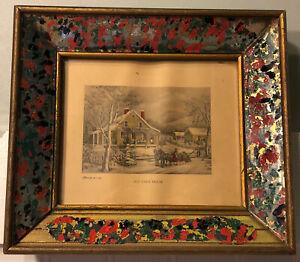 Antique-Vintage-Currier-amp-Ives-Old-Farm-House-Print-Gilded-Wood-Glass-Frame