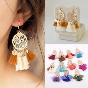 Bohemian-Fan-Long-Tassel-Earrings-Vintage-Statement-Retro-Bronze-Dangle-Ear-Hook