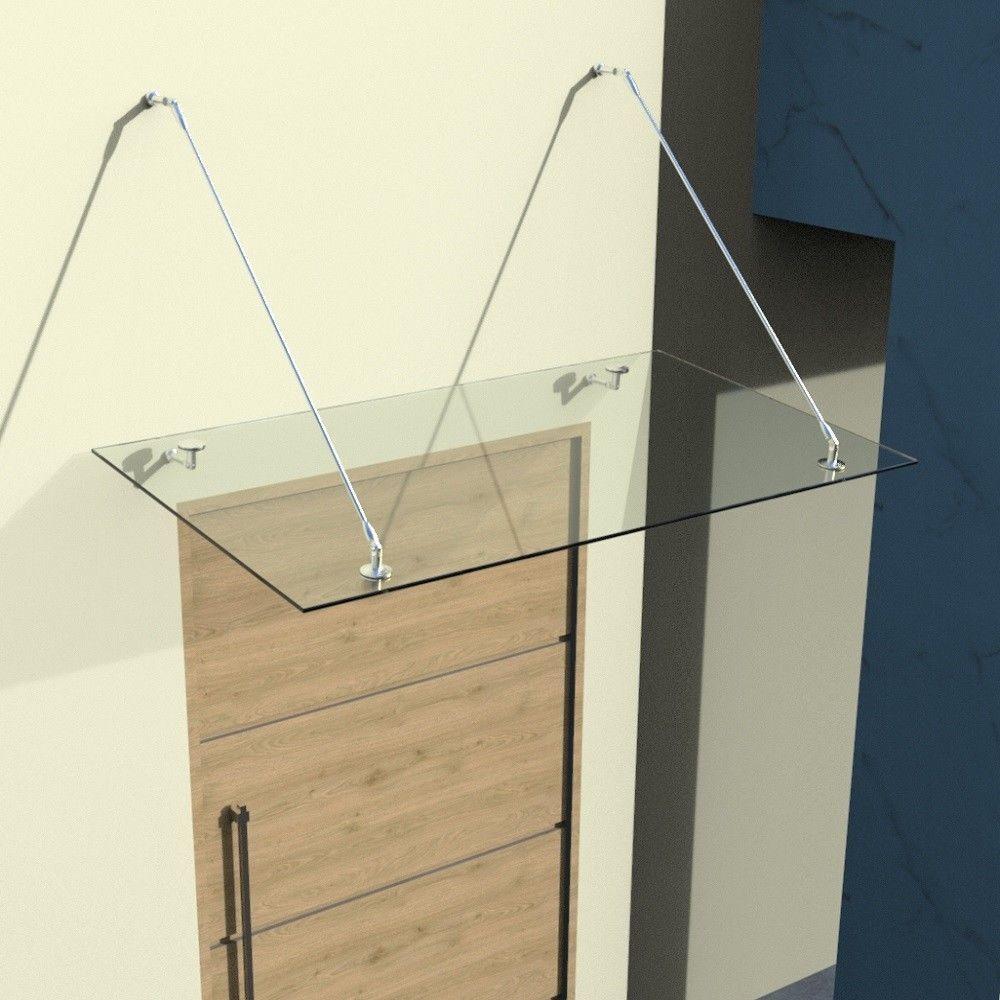 Glasvordach 120x90 160x90 200x90 200x100cm, Vordach aus Edelstahl und VSG