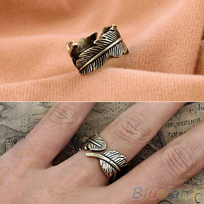 Antique Womens Mens Boho Style Feather Ring Finger Ring Band Fashion Jewelry
