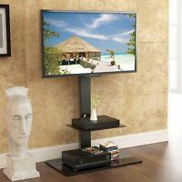 Tv Stand With Swivel Mount Component Shelf For 32-65 Coby Led Lcd Tv